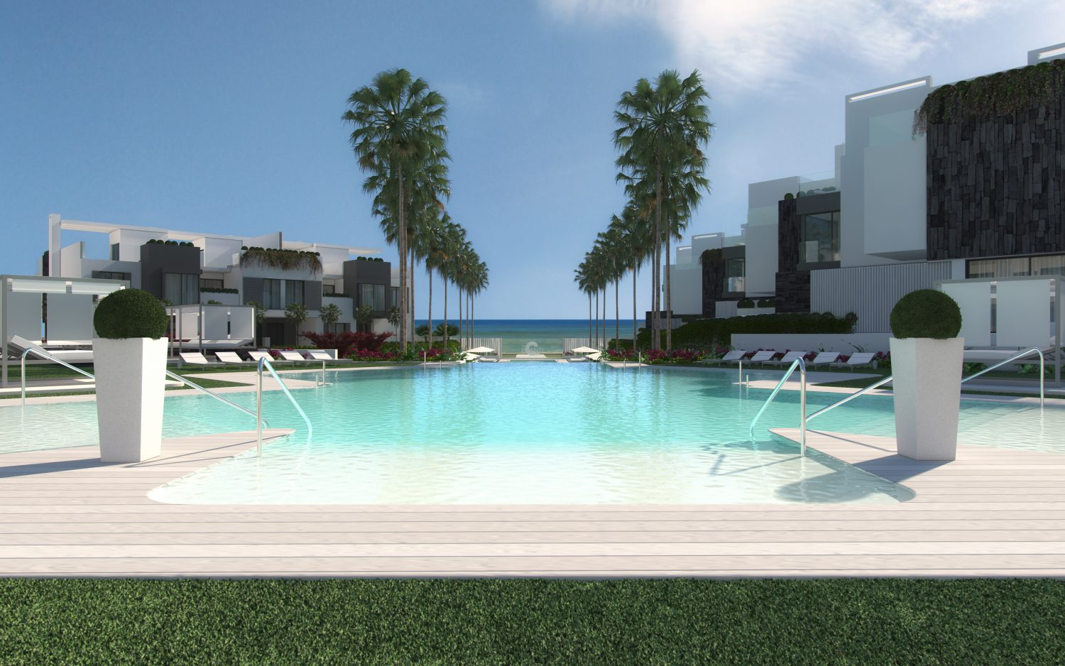 Luxury Townhouses in Estepona, first line beach