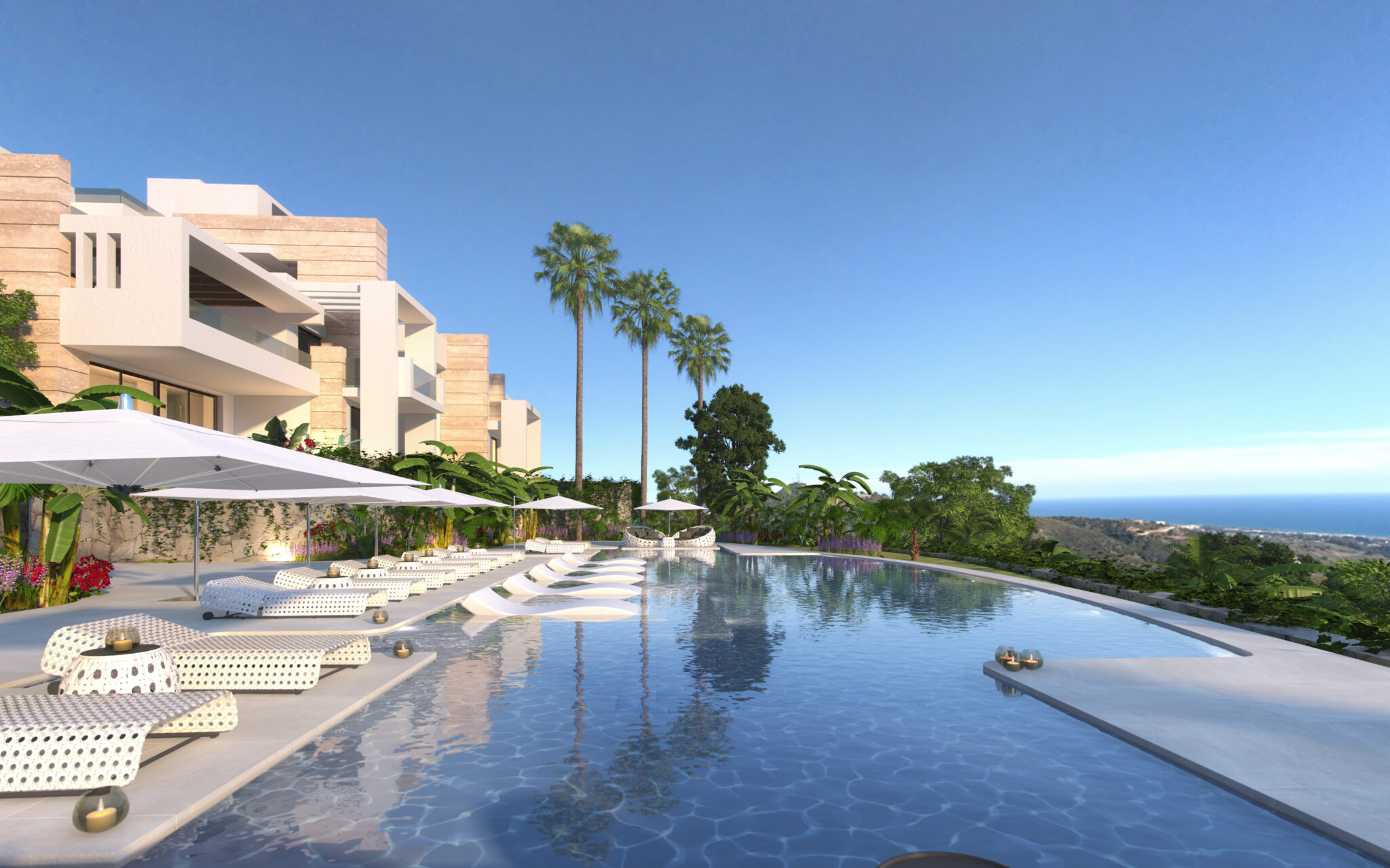 Luxury new seaviews development, hilltop of Marbella – 2, 3 bed apartments and Penthouses